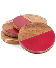 Thirstystone Enamel & Wood Coasters, Set of 4