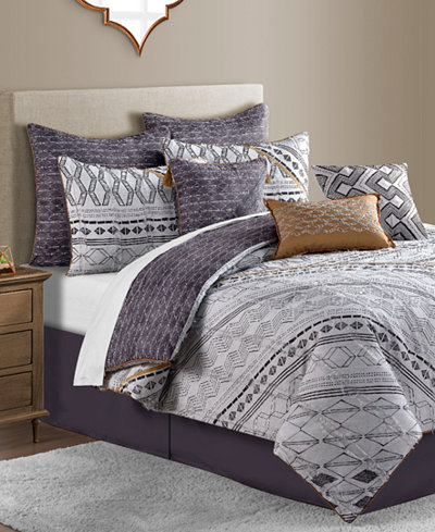 Rhodes Reversible 10-Pc. Geo-Print Comforter Sets - Bed in a Bag ...