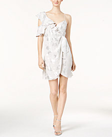 Bardot Metallic-Print Wrap Dress