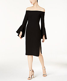 Bardot Off-The-Shoulder Bell-Sleeve Midi Dress