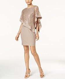 R M Richards Pee Sequined Cape Sheath Dress