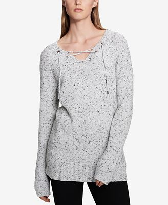 Calvin Klein Speckled Lace-Up Sweater