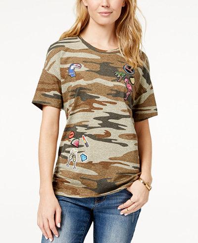 Carbon Copy Patched Camo-Print T-Shirt