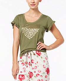 HUE® Heart-Graphic Ruffled-Sleeve Pajama Top