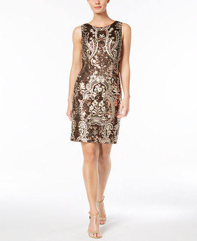 Calvin Klein Sequined Embroidered Mesh Dress