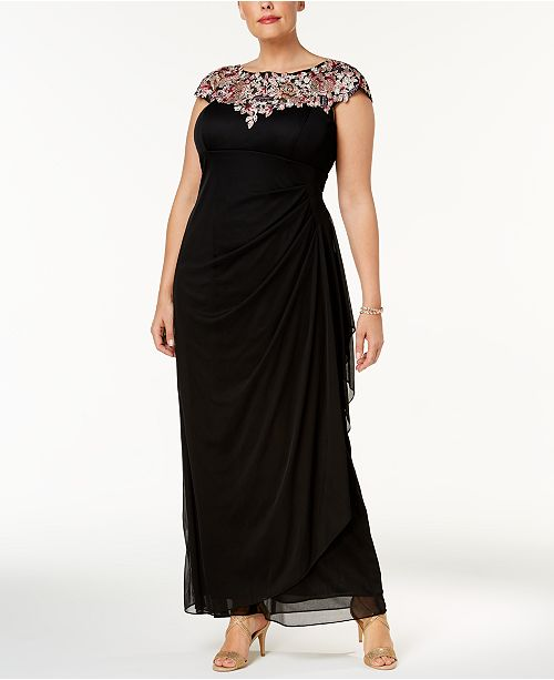 Xscape Plus Size Embroidered Ruched Sweetheart Gown Dresses Macys