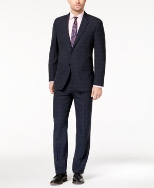 Tommy Hilfiger Men's Slim-Fit Stretch Performance Medium Blue Windowpane Plaid Suit