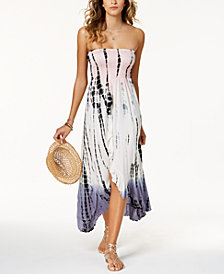 Raviya Tie-Dyed Waterfall-Hem Tube Dress Cover-Up