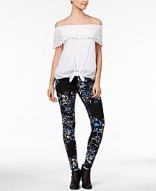 Thalia Sodi Off-The-Shoulder Tie-Hem Top & Printed Leggings, Created for Macy's