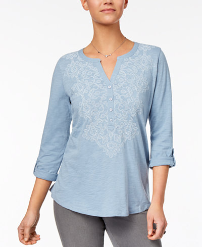 Style & Co Embroidered Top, Created for Macy's