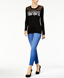 Thalia Sodi Illusion Appliqué Sweater & Pull-On Jeggings, Created for Macy's