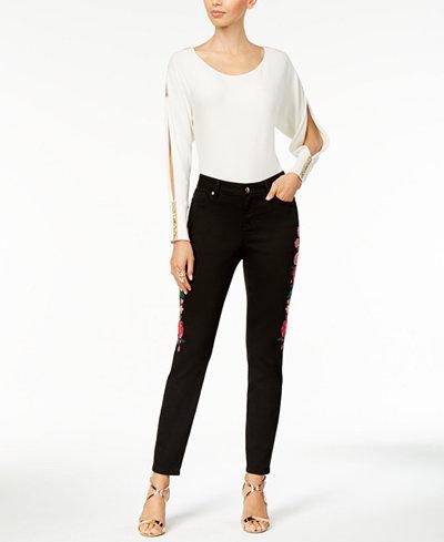 Thalia Sodi Embellished Split-Sleeve Sweater & Embroidered Denim Pant