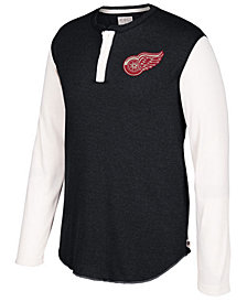 CCM Men's Detroit Red Wings Long Sleeve Henley Shirt