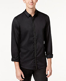 GUESS Men's Miller Shirt with Faux-Leather Trim