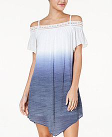 BCX Juniors' Dip-Dyed Off-The-Shoulder Shift Dress