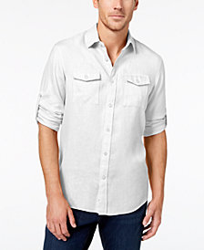 Michael Kors Men's Classic-Fit Roll-Up Linen Shirt