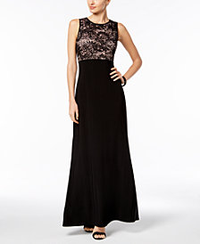 Nightway Open-Back Lace Gown