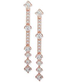 Anne Klein Rose Gold-Tone Crystal Linear Drop Earrings