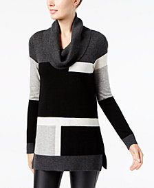 I.N.C. Colorblocked Cowl-Neck Sweater, Created for Macy's