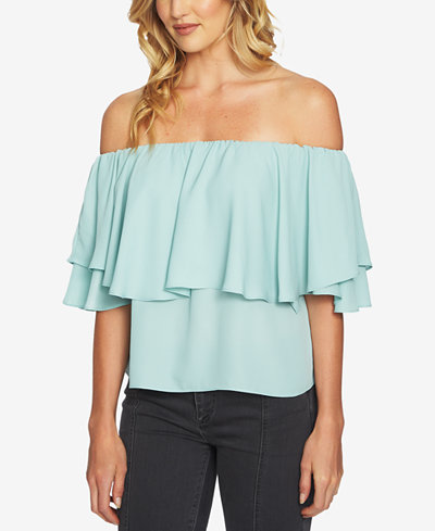 1.STATE Off-The-Shoulder Ruffled Blouse