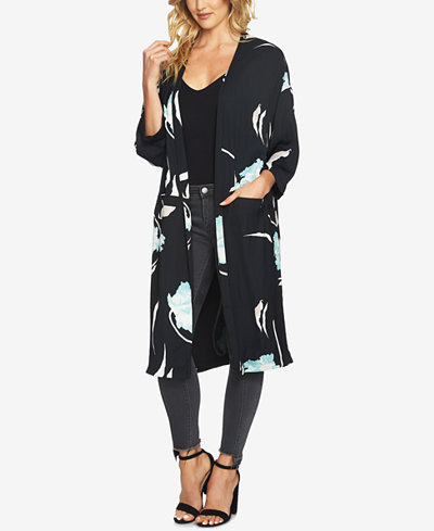 1.STATE Printed Open-Front Jacket
