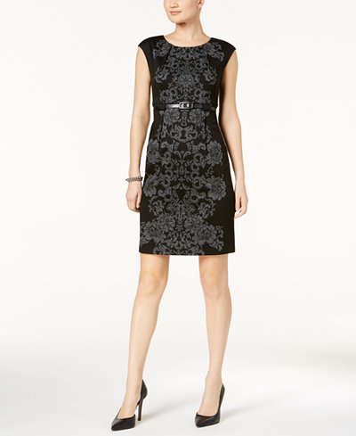Connected Petite Damask-Print Dress