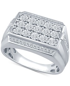 Men's Diamond Cluster Ring (1/3 ct. t.w.) in Sterling Silver
