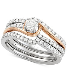Diamond Two-Tone Enhancer Bridal Set (7/8 ct. t.w.) in 14k White and Rose Gold