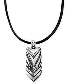 Scott Kay Men's Hematite Accent Black Leather Cord Chevron Pendant Necklace in Sterling Silver