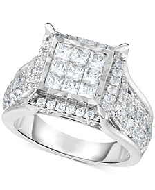 Diamond Square Cluster Ring (2 ct. t.w.) in 14k White Gold