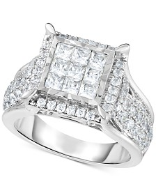 TruMiracle® Diamond Square Cluster Ring (2 ct. t.w.) in 14k White Gold
