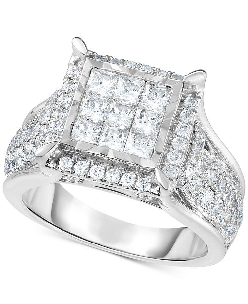 TruMiracle Diamond Square Cluster Ring (2 Ct. T.w.) In 14k