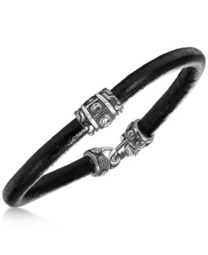 SCOTT KAY Men'S Black Leather Bracelet With Sterling Silver Accents