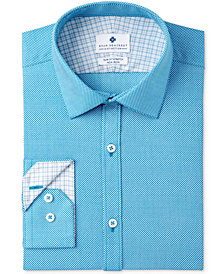 Ryan Seacrest Distinction™ Men's Slim-Fit Stretch Non-Iron Teal Print Dress Shirt, Created for Macy's