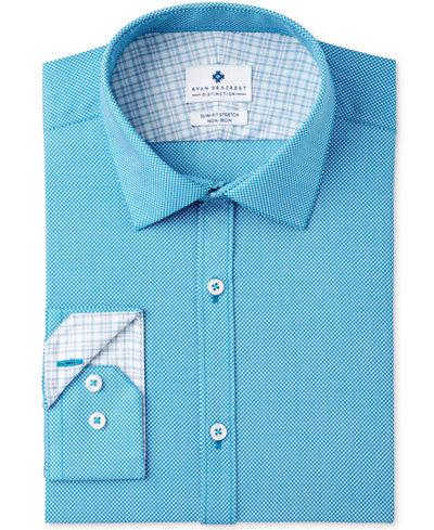 Ryan Seacrest Distinction™ Men's Slim-Fit Stretch Non-Iron Teal Print Dress Shirt, Created for Macy's