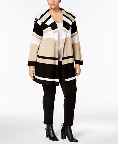 Calvin Klein Plus Size Striped Sweater Jacket