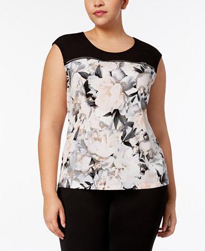 Calvin Klein Plus Size Zipper-Trim Sleeveless Top