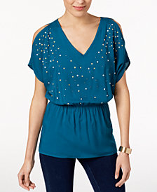 Love Scarlett Petite Studded Cutout Blouson Top, Created for Macy's