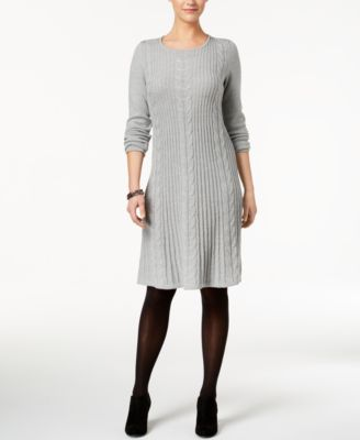 Ny collection dress long-sleeve belted sweater dress