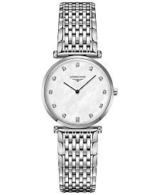 Longines Womens Swiss La Grande Classique de Longines Diamond-Accent Stainless Steel Bracelet Watch 29mm