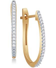 Diamond Pavé Hoop Earrings (1/8 ct. t.w.) in 10k Yellow or White Gold