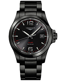 Longines Men's Swiss Conquest VHP Black PVD Stainless Steel Bracelet Watch 43mm