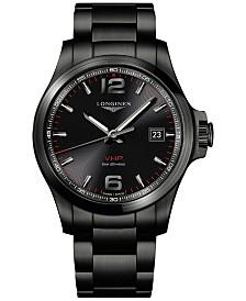 Longines Men's Swiss Conquest VHP Black PVD Stainless Steel Bracelet Watch 43mm
