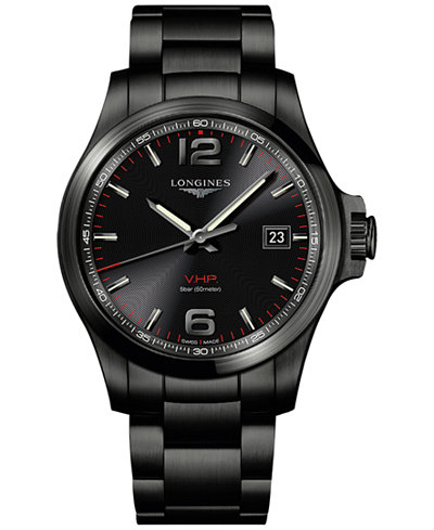 longines mens swiss conquest vhp black pvd stainless