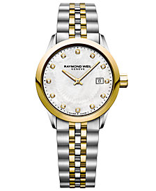 RAYMOND WEIL Women's Swiss Freelancer Diamond-Accent Two-Tone Stainless Steel Bracelet Watch 29mm