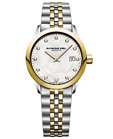 RAYMOND WEIL Women's Swiss Freelancer Diamond-Accent Two-Tone Stainless Steel Bracelet Watch 29mm