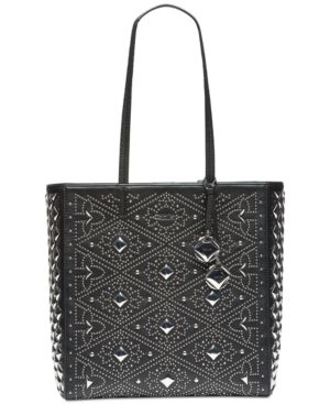 AVERY PEBBLED LEATHER EMBELLISHED TOTE BAG
