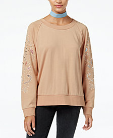 American Rag Juniors' Beaded Studded Sweatshirt, Created for Macy's