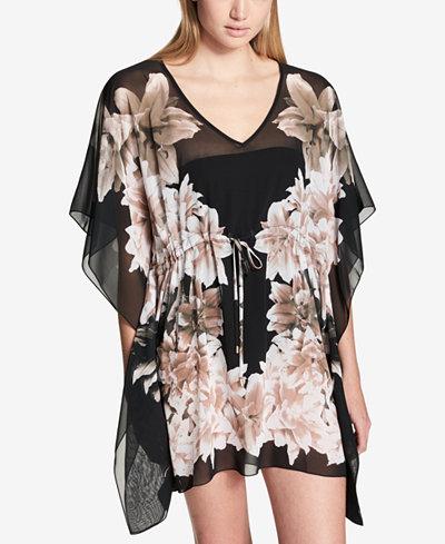 Calvin Klein Black Lily Printed Drawstring Caftan Cover-Up