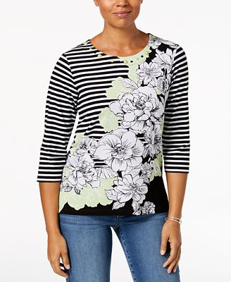 Alfred Dunner In The Limelight Embellished Striped Top